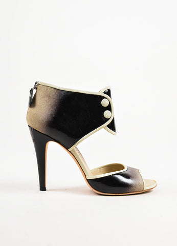 ¥éËChanel Black and Cream Ombre Patent Leather Suede Ankle Strap Heels Sideview