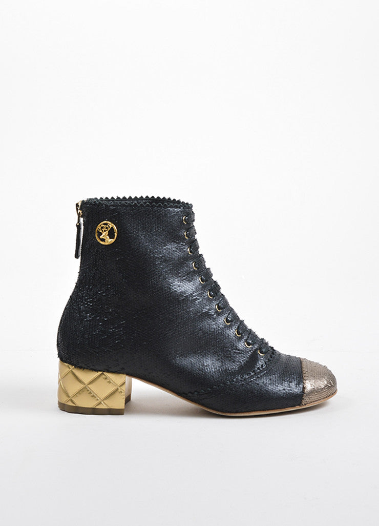 Chanel Black and Gold Textured Leather Lace Up 'CC' Deer Medallion Ankle Boots Sideview