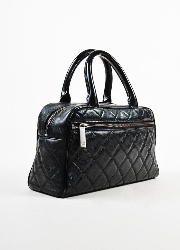 Chanel Black Leather Quilted Stitched Script Patent Top Handle Bowler Bag Sideview