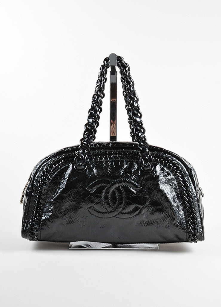 "Chanel Black Patent Leather Plastic Chain Link ""CC"" Zip Bowler Satchel Bag Frontview"