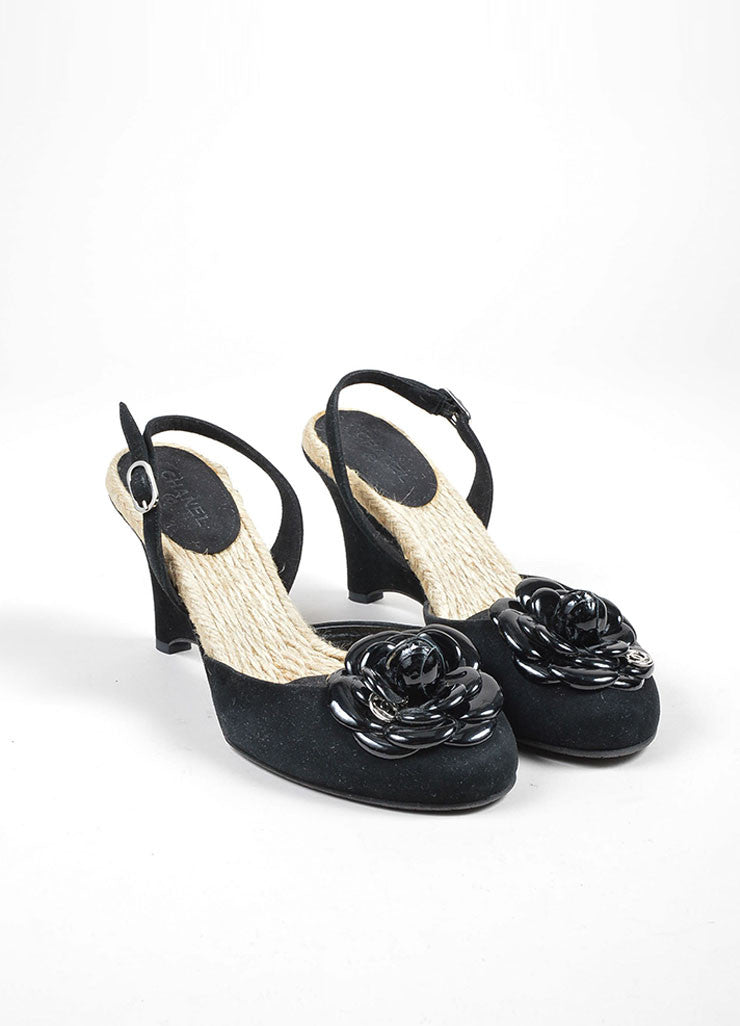Black Chanel Suede and Patent Leather Camellia Flower Espadrille Trim Wedges Frontview
