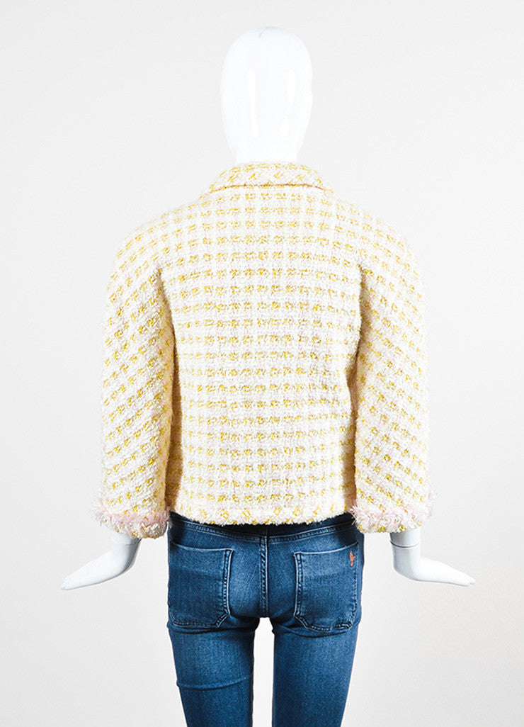 Chanel Pink and Yellow Boucle Tweed Shimmer Tread Fray Edge Jacket Backview