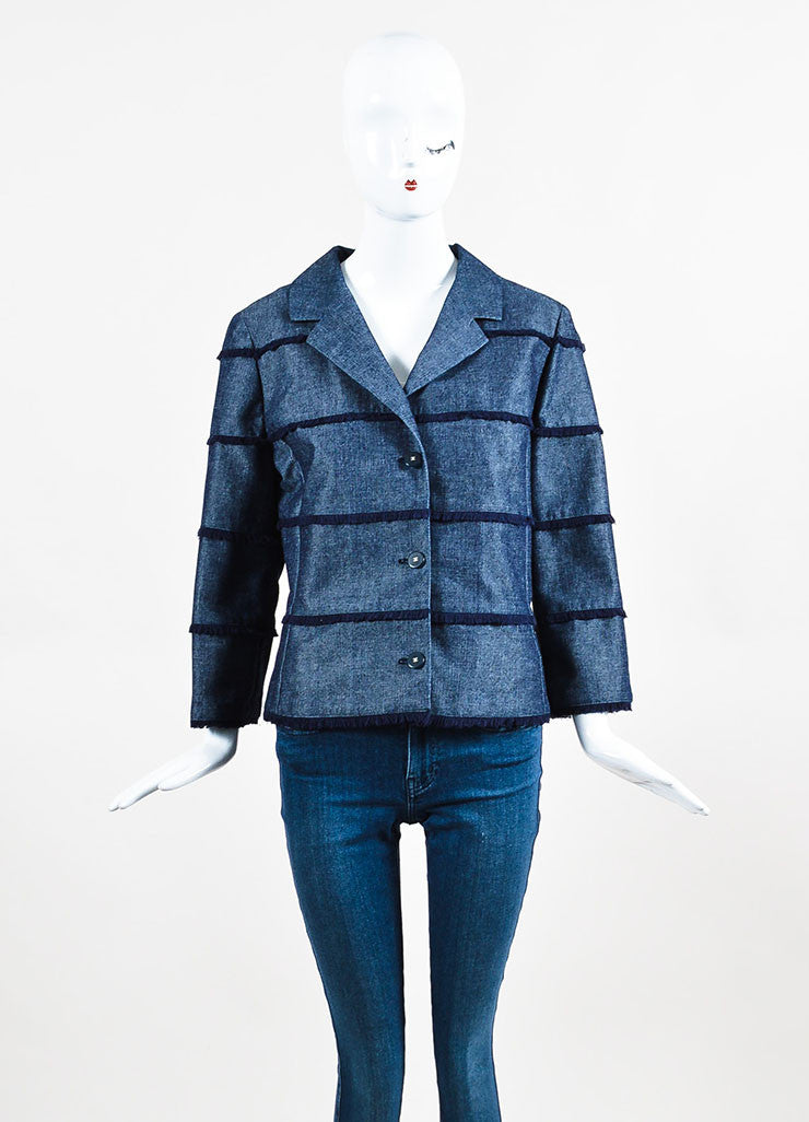 Chanel Denim Frayed Detail Cropped Sleeve Jacket Frontview 2
