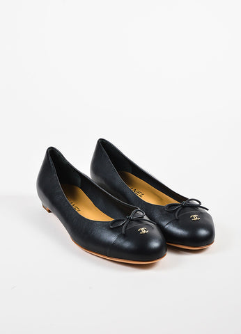 Chanel Black Leather Bow Cap Toe GHW 'CC' Ballerina Flats Frontview