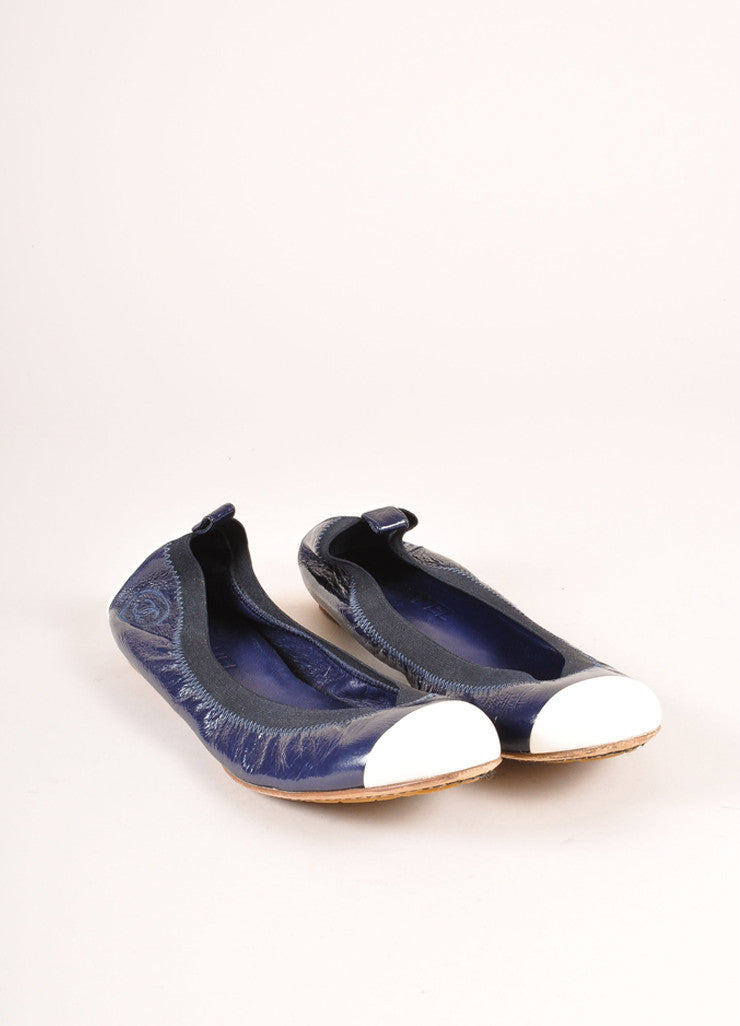 Chanel Navy and White Patent Leather Embossed Contrast Cap Toe Flats Frontview
