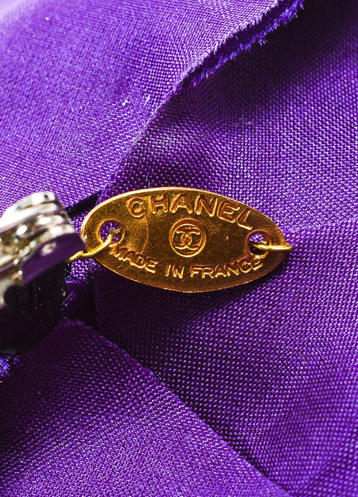 Chanel Purple Silk Camellia Flower Brooch Pin Brand