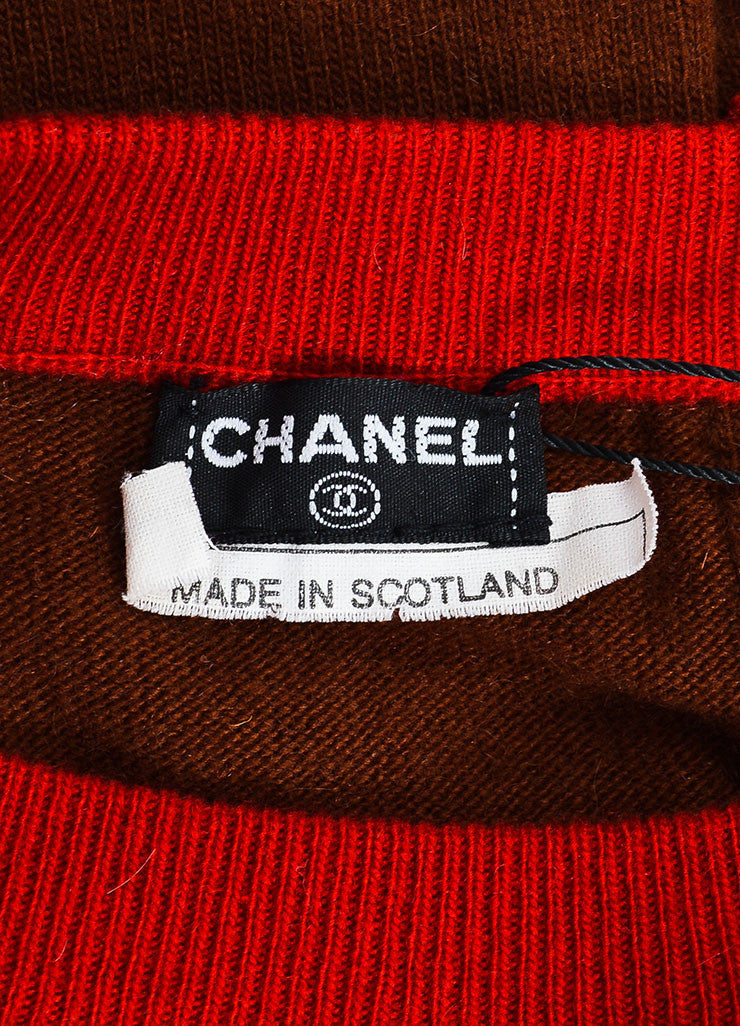 Chanel Red and Brown Knit Color Block Short Sleeve Top and Cardigan Sweater Set Brand