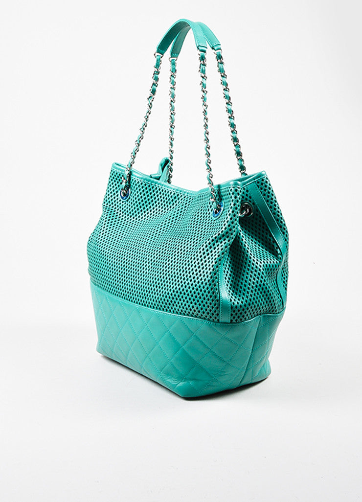 "Chanel Teal Leather Perforated Quilted ""Up in the Air"" Chain Handle Tote Bag Sideview"