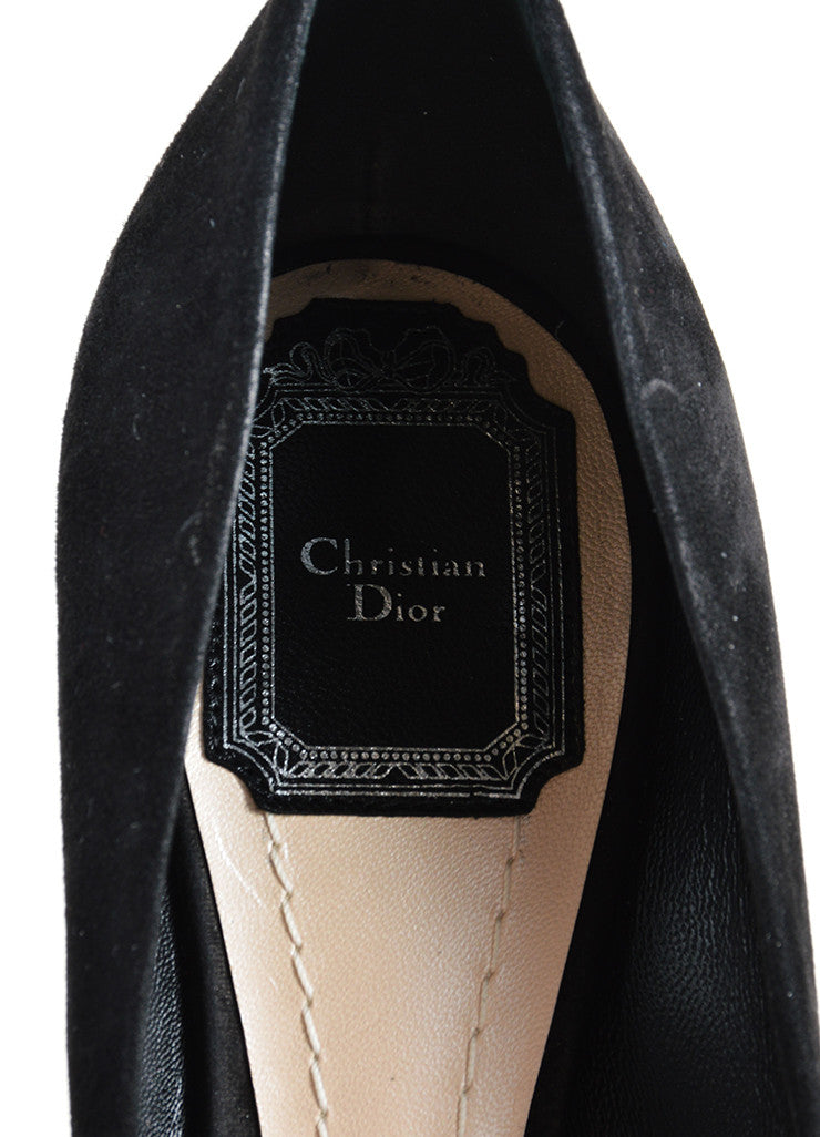 Christian Dior Black Suede Leather Optique Mirror Heel Pumps Brand
