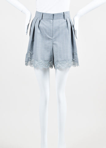 Christian Dior Grey and White Wool Pinstriped Lace Trim Shorts Frontview