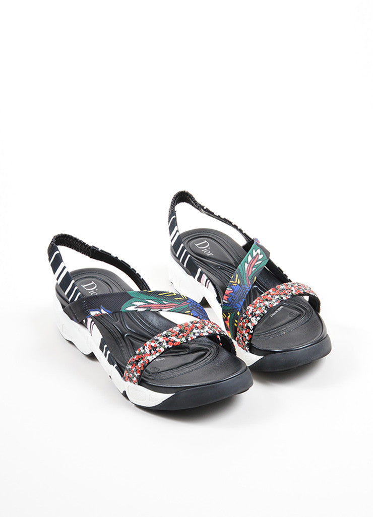 "Multicolor Christian Dior Satin Sequin ""Trio"" Slingback Sandals Frontview"