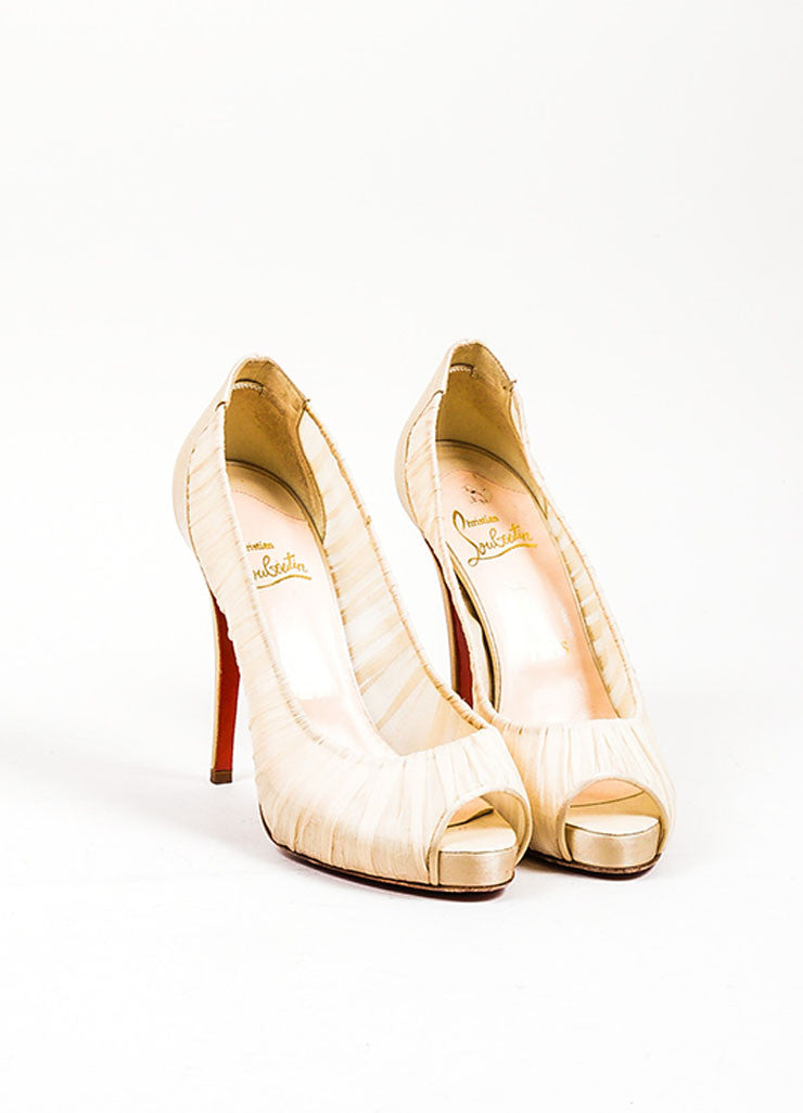 "Cream Christian Louboutin Chiffon Satin Trim Peep Toe ""Very Prive"" Pumps Frontview"