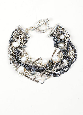 Sterling Silver, Gunmetal, and Cream David Yurman Pearl Multistrand Toggle Bracelet Frontview