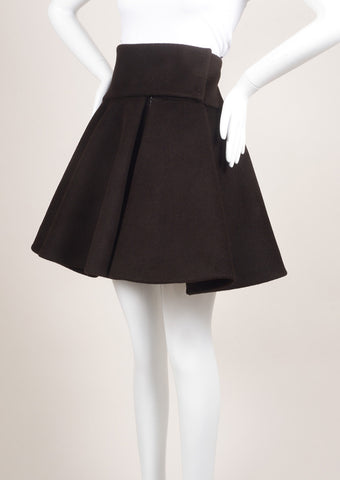 Delpozo New With Tags Dark Brown Wool and Angora Flare Skirt Sideview