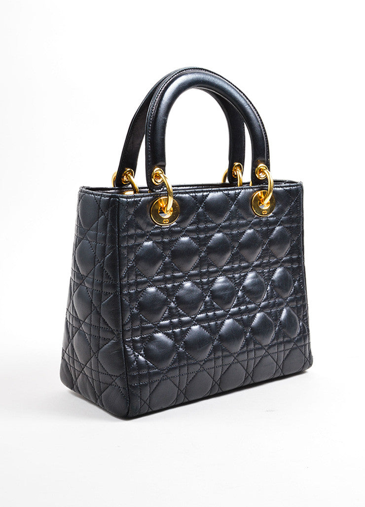 "Christian Dior Black Leather Quilted Top Handle Medium ""Lady"" Tote Bag Sideview"