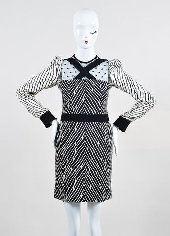 Black and White ̴å«?ÌÎÌÏEmanuel Ungaro Patterned Polka Dot Mesh Back Long Sleeve Dress Frontview