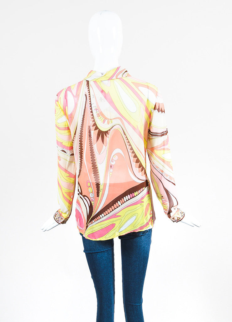 Multicolor Emilio Pucci Silk Printed Sheer Button Up Long Sleeve Blouse Backview