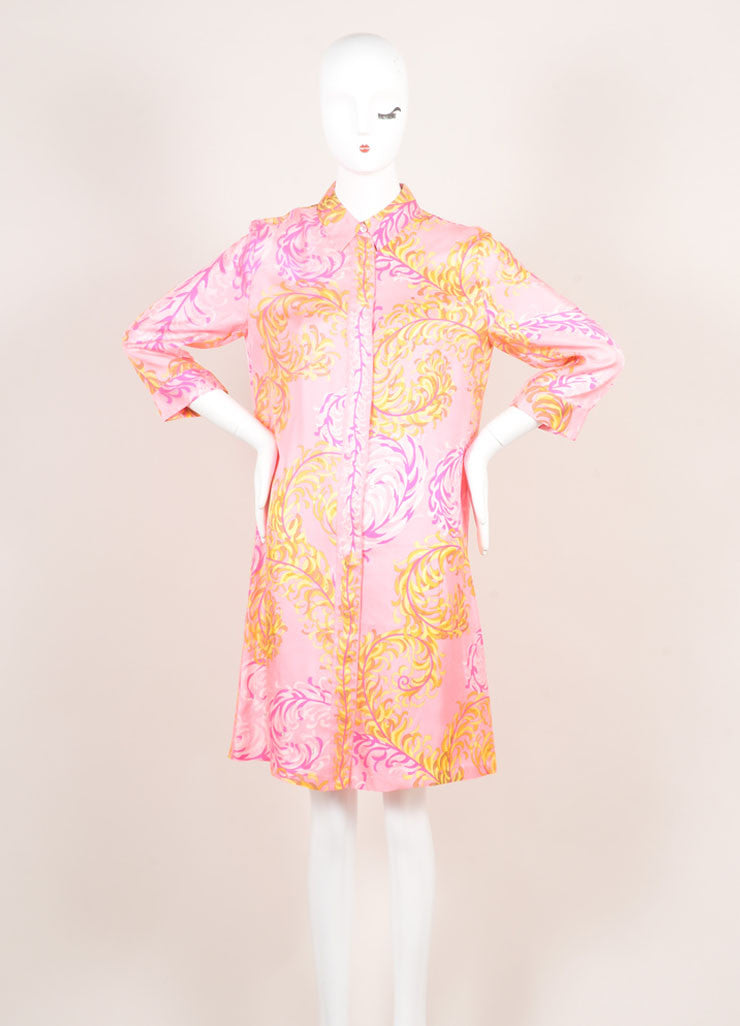 Emilio Pucci Pink Multicolor Foliage Print Silk Quarter Sleeve Shirt Dress Frontview