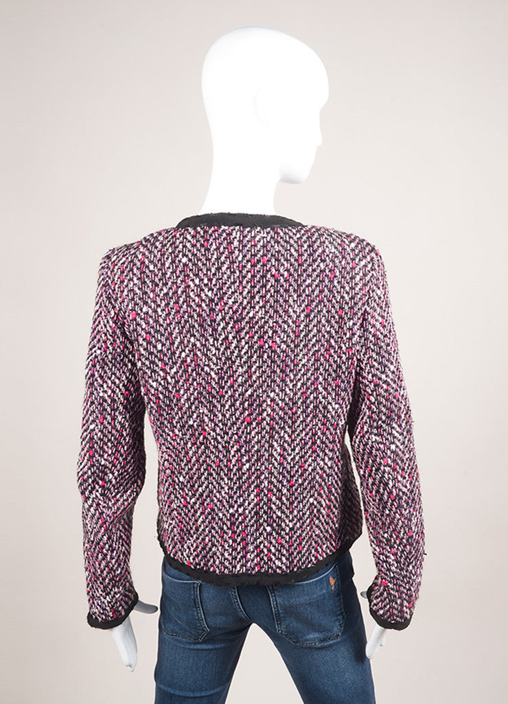 Escada Pink and Black Cotton and Wool Tweed Ribbon Trim Jacket Backview