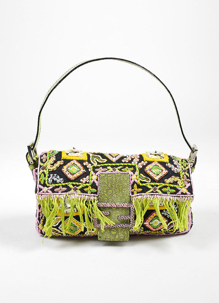 Black, Green, and Pink Fendi Lizard Skin Beaded and Embroidered Baguette Shoulder Bag Frontview