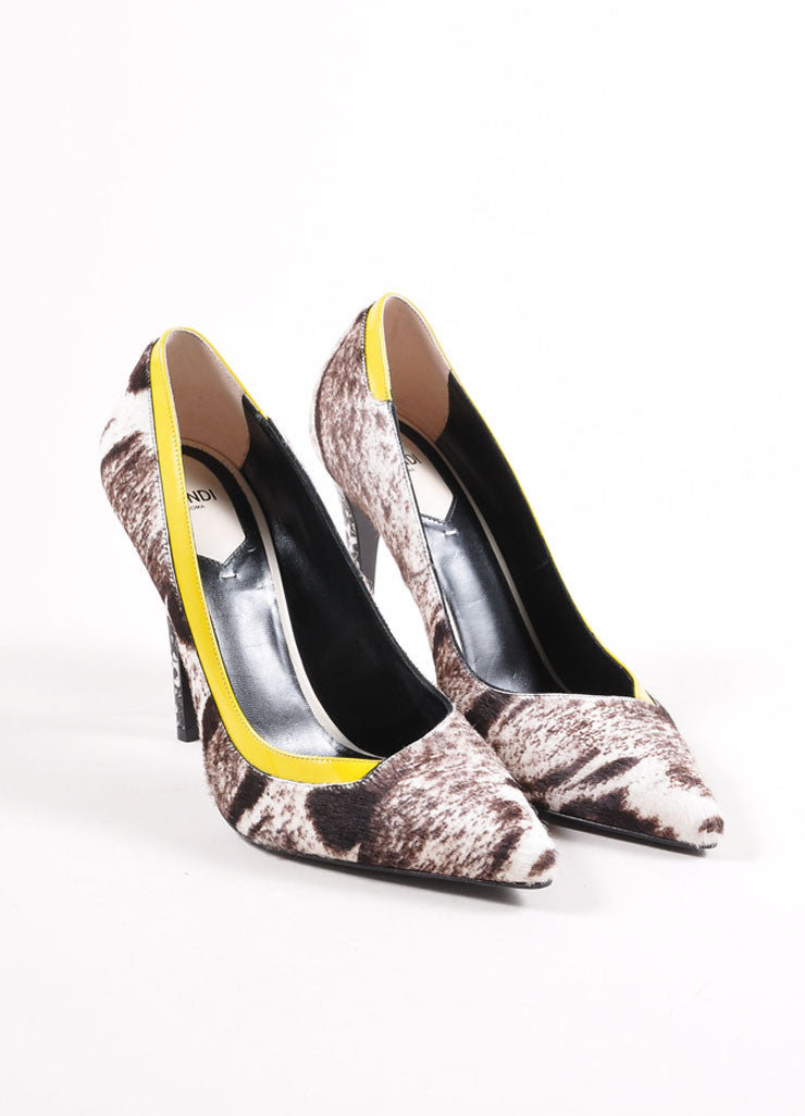 Fendi New In Box White, Brown, and Yellow Pony Hair Animal Print Patent Trim Pumps Frontview