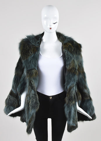 Feraud Blue and Brown Fur Sleeveless Hooded Cape Frontview