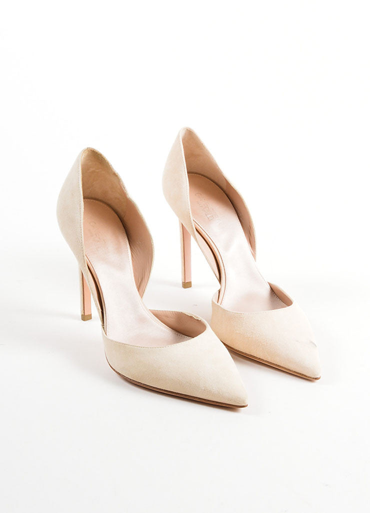 Giambattista Valli Beige Suede Pointed Toe D'Orsay Pumps Frontview