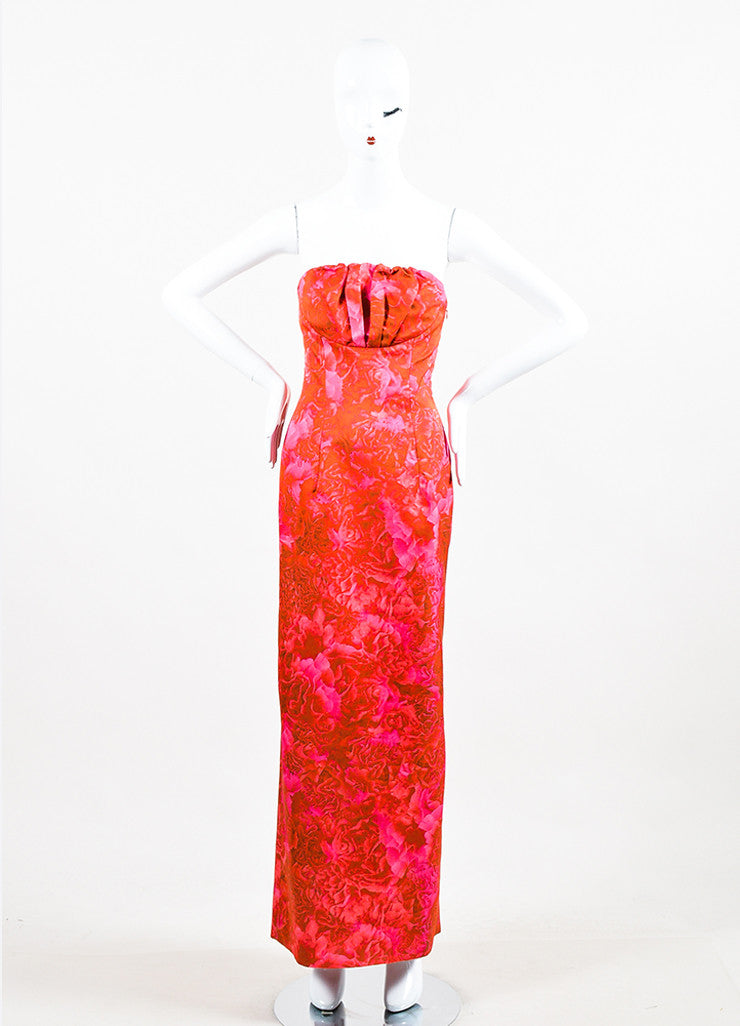 Giambattista Valli Pink and Red Floral Print Strapless Pleated Bust Straight Gown Frontview
