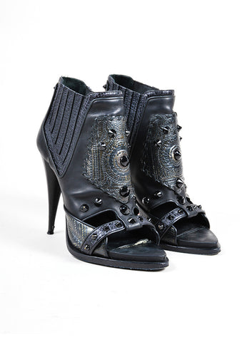 Givenchy Black Leather Studded Patchwork Open Toe Heeled Booties Frontview