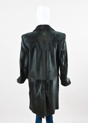 Gucci Dark Green Pony Hair Leather Button Down Long Sleeve Coat back