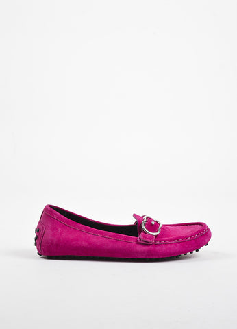 Pink Gucci Suede Leather 'GG' Buckle Round Toe Driving Loafers Side