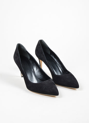 "Black Gucci Suede Pointed Toe ""Brooke 75mm"" Pumps Front"