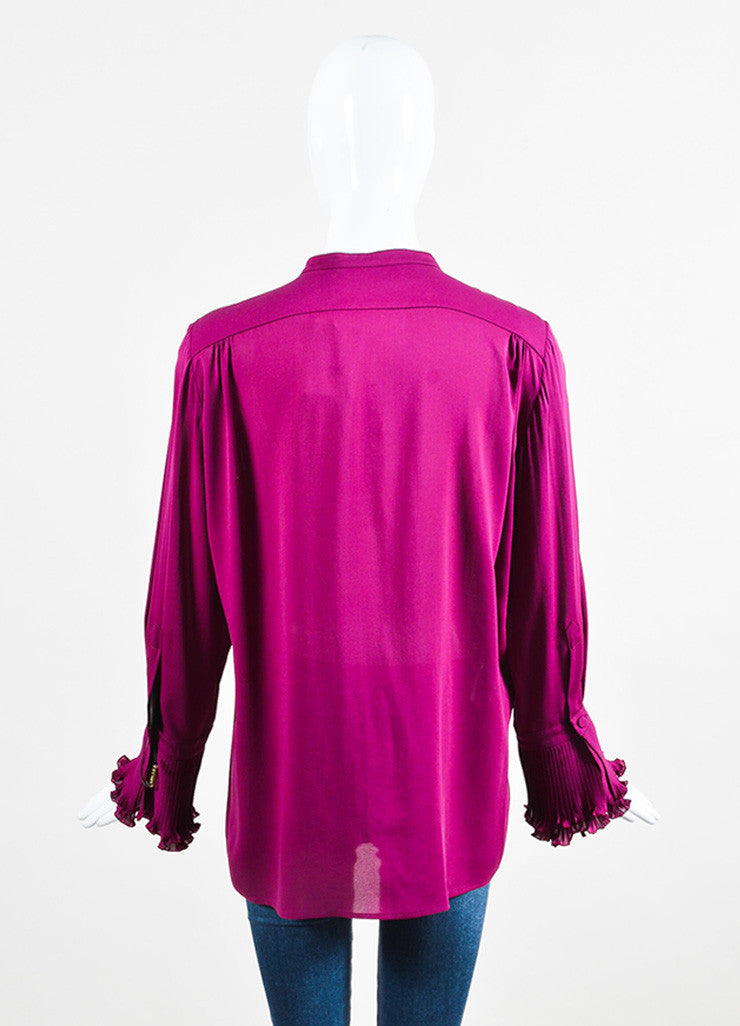 Gucci Plum Purple Silk Ruffle Front Pleat Cuff Long Sleeve Blouse Backview