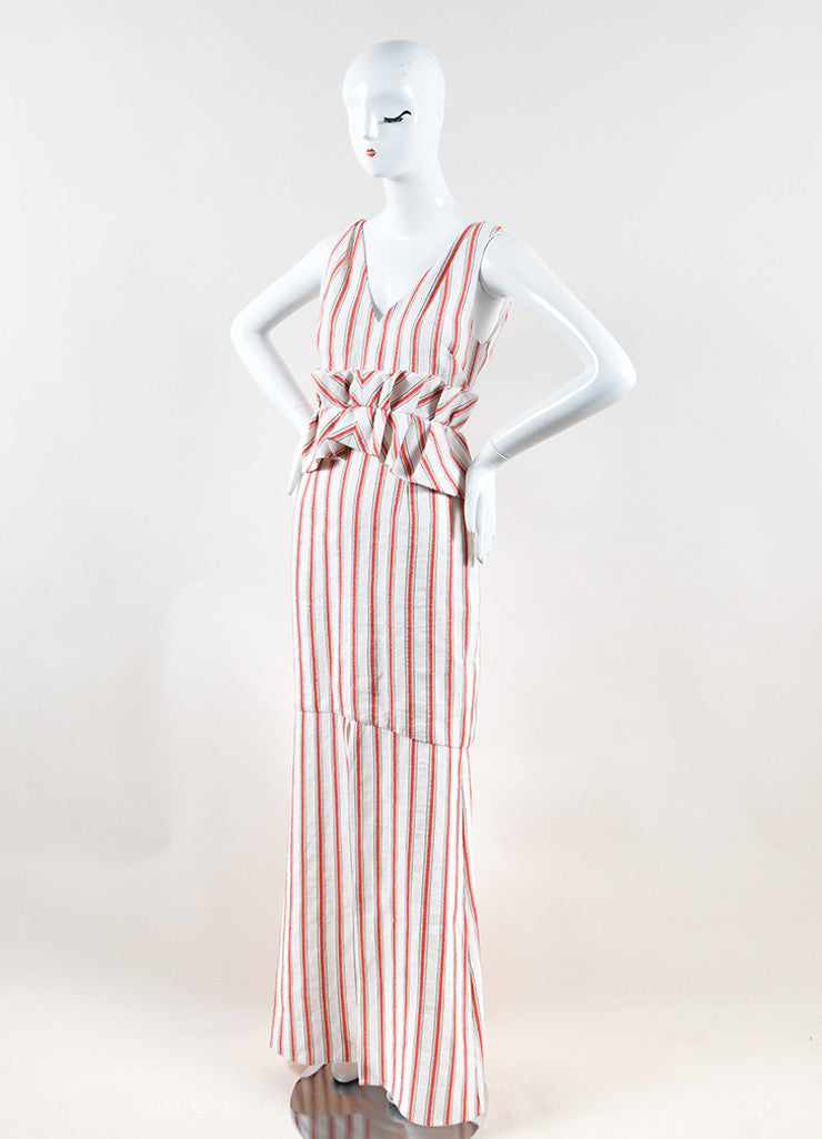 Hellessy White and Red Linen and Cotton Striped Ruffle Slit Maxi Dress Sideview