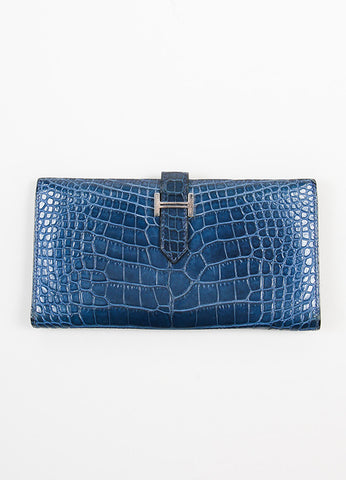 "Hermes ""Bearn"" Blue Genuine Alligator Leather Long Flat Wallet Frontview"