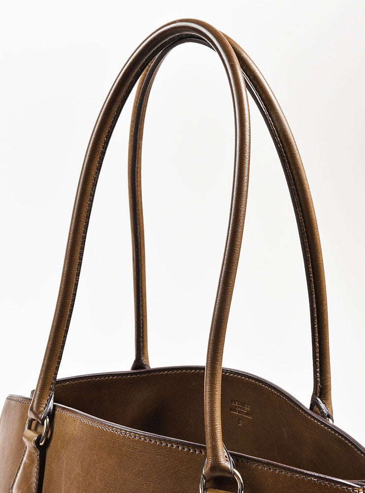 "Hermes Brown Box Calf Leather Top Handle Structured ""LA Tote"" Handbag Detail 2"