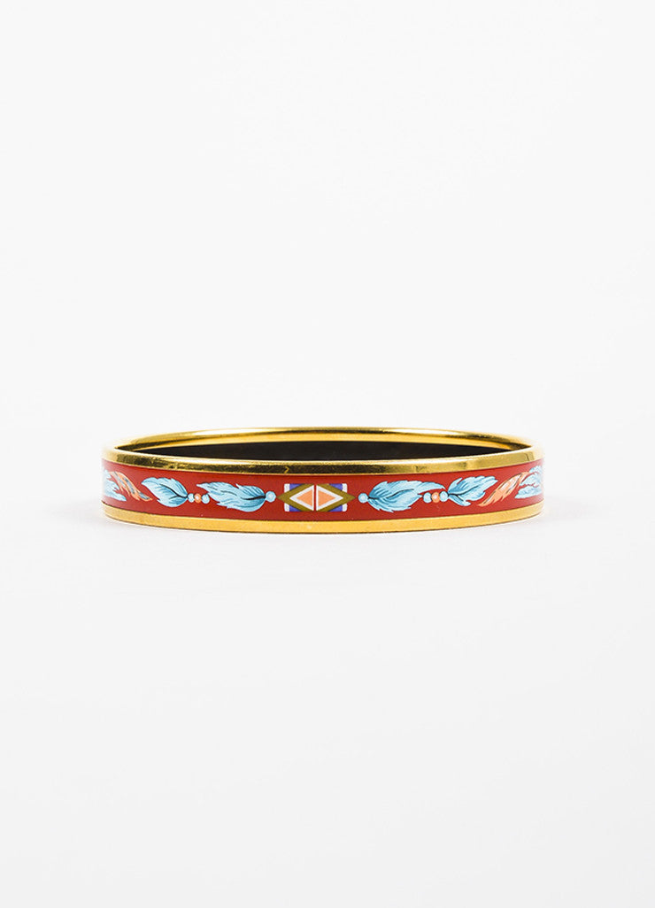 "Hermes Gold Plated Red and Blue Enamel Feather Print ""Brazil"" Bangle Bracelet Backview"