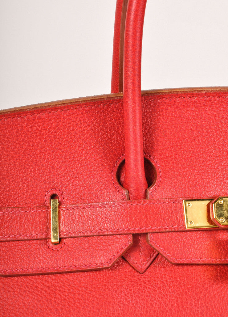 "Hermes Red and Gold Toned ""Rouge Garance"" Buffalo Skipper Leather 35cm Birkin Bag Detail 4"