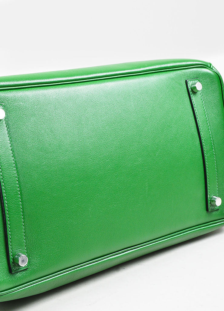 "Hermes Green SHW ""Vert Bengale"" Veau Swift Leather 35 cm ""Birkin"" Bag Bottom View"