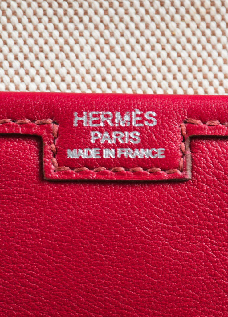 "Hermes Red ""Rouge"" Swift leather Toile Lined ""Jige PM"" Clutch Bag Brand"
