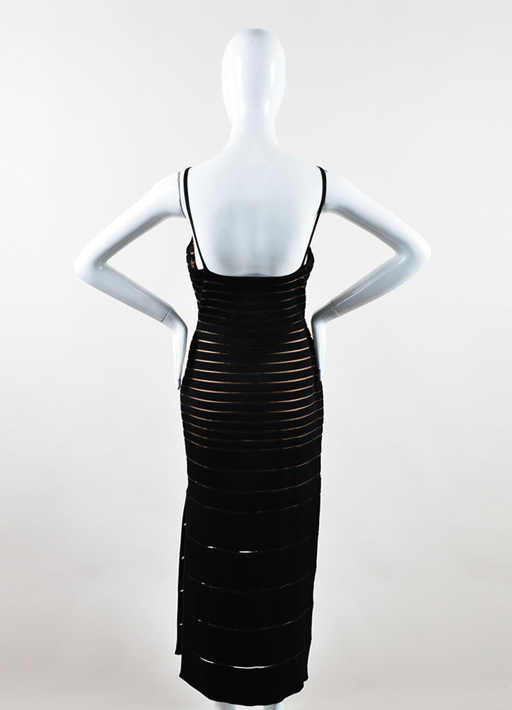 Herve Leger Black Spandex Stretch Knit Sheer Bandage Dress Backview