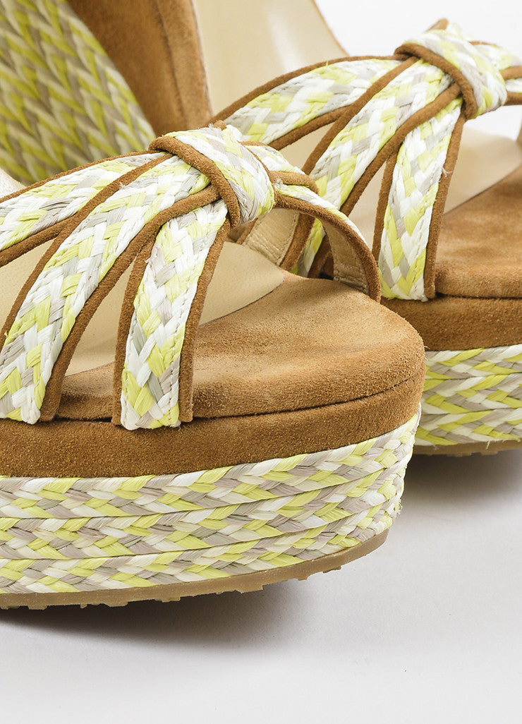 "Jimmy Choo Brown Suede Yellow and Grey Platform ""Promise"" Espadrille Wedges Detail"