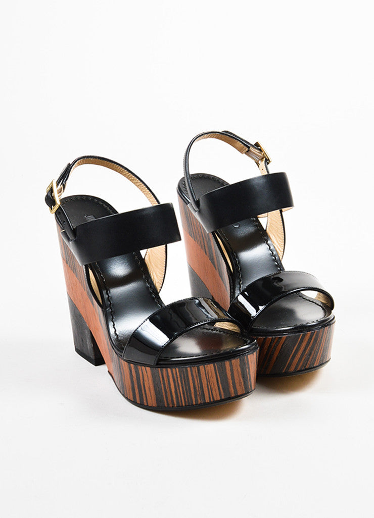"Black and Brown Jimmy Choo Leather Stack Wedge ""Notion 130"" Sandals Frontview"