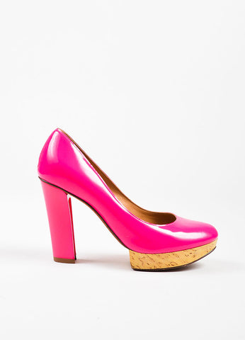 Hot Pink Lanvin Leather & Wood Platform Hollowed Heel Pumps Side