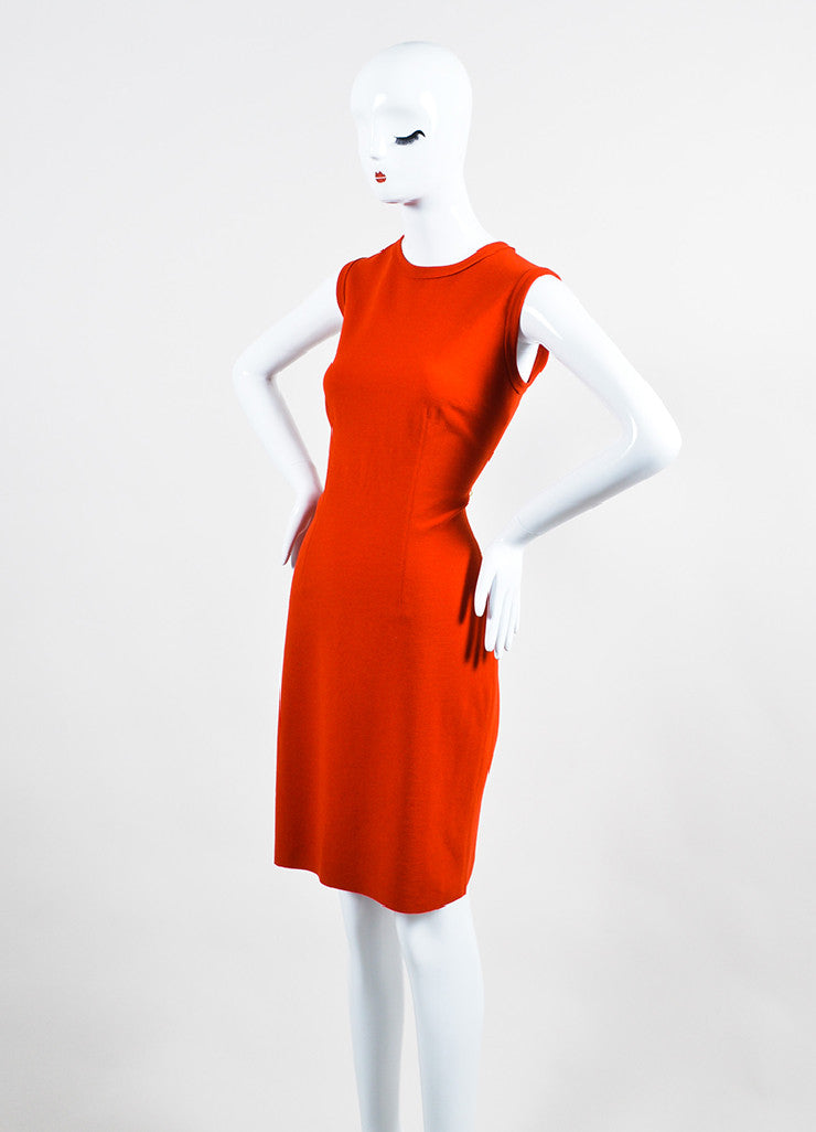 Orange-Red Lanvin Wool Raw Edge Exposed Zip Sleeveless Shift Dress Sideview