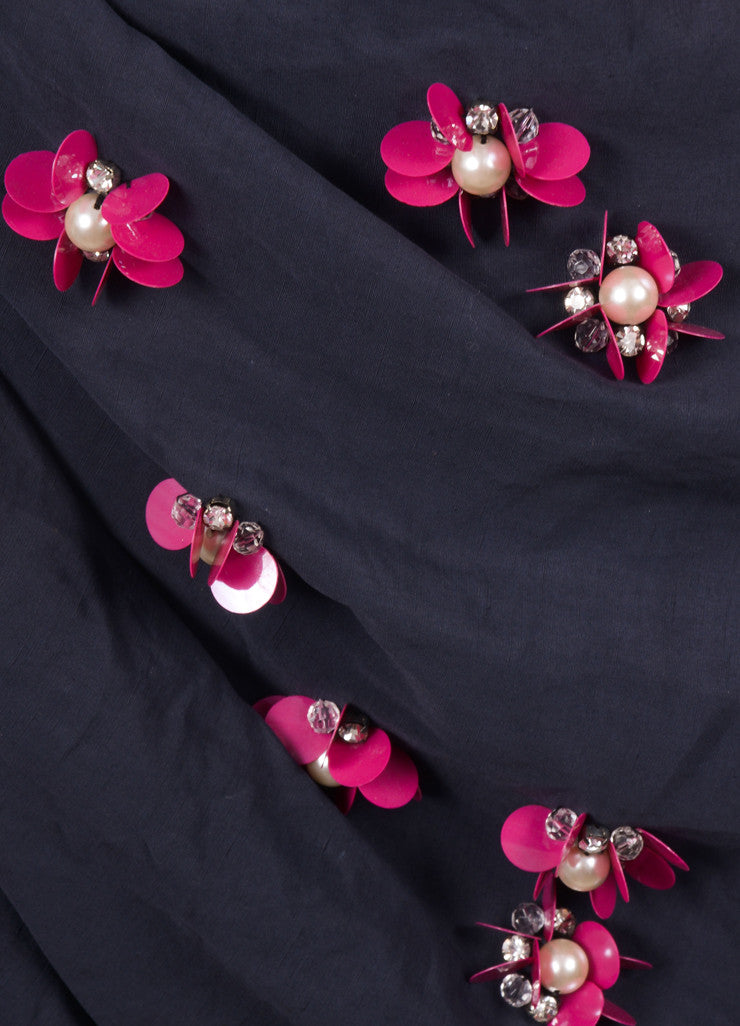 Lanvin Navy Cotton and Linen Embellished Flower Beaded Skirt Detail