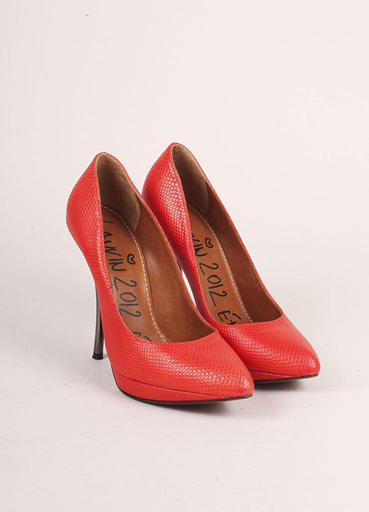 Lanvin Red and Gunmetal Pointed Toe Comma Heel Textured Leather Pumps Frontview