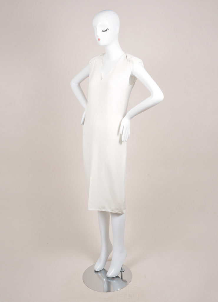 Lanvin White Sleeveless Padded Shoulder Slit Midi Column Dress Sideview