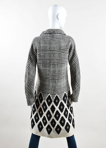 Lela Rose Black and Cream Houndstooth Diamond Double Breasted Coat Backview