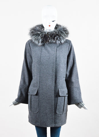 Loro Piana Grey Wool Cashmere Removable Fox Fur Trim Hooded Coat Frontview 2